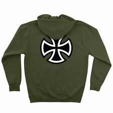 Independent Trucks BAR AND CROSS PULLOVER Skateboard Hoodie ARMY HEATHER MEDIUM
