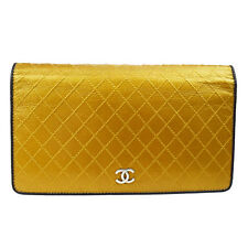 Auth CHANEL CC Logos Quilted Long Bifold Wallet Purse Leather Gold Black 60S420