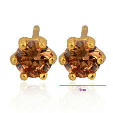 Saucy 9K Yellow Gold Filled Champagne Round Cubic Zirconia Stud Earrings