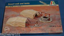 ITALERI 6148 WW2 DESERT WELL & TENTS. 1:72 SCALE. UNPAINTED PLASTIC KIT
