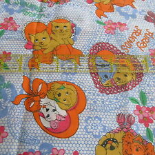 Vtg 70s lightweight cotton apparel fabric Forget Me Not Cat Dog half yard 1/2