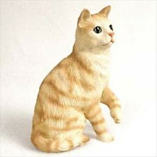 Red Tabby Cat Sitting Hand Painted Canine Collectable Figurine Statue