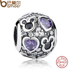 Authentic S925 Sterling Silver Charm Purple Sparkling Mickey& Heart For Bracelet