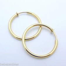 "1 1/2"" Med Gold Gp HOOP CLIP Halloween Gypsy Pirate Earrings 3mm Clipon Costume"