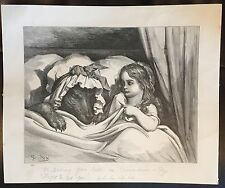 """Vintage Little Red Riding Hood """"The Disguised Wolf"""" 10x12 etching print"""