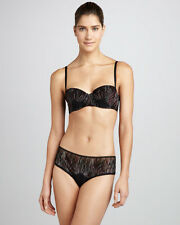 $269 LA PERLA Black Multi-Color Geometric Mikado Demi Push Up BRA 34B ITALY New
