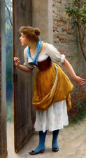 Oil painting Eugene de Blaas The Eavesdropper young girl by the door landscape