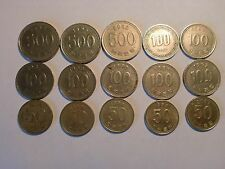 - KOREA-SOUTH - 15 OLD & NEW  HIGH  DENOMINATION  COINS - RARE - 1973-2002 # 11A