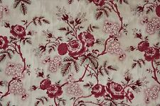 Antique French quilt fragment c 1850 quilted chintz fabric pink red textile