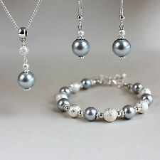 Light grey pearls necklace bracelet silver wedding bridesmaid jewellery set