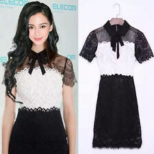 NEW Korean Women's Fashion Black and White Bow Lace Dress