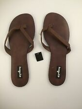 Incognito Womens Leather Sandals Size 9 Brown Flip Flops LAST PAIR!