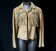 SCULLY Western Suede Leather Jacket w/ fringe, metal studs, beads, conchos Sz L