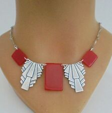 WONDERFUL ART DECO CHERRY RED BAKELITE NECKLACE-GEOMETRIC MACHINE AGE MODERNIST