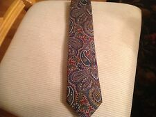 Lands End 100% Silk Long Tie Hand Sewn U.S.A Imported Fabric. Paisley Print Mult