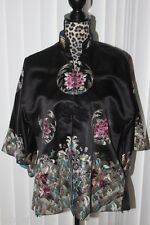 VINTAGE ANTIQUE CHINESE HAND EMBROIDERED WOMEN'S 100% SILK JACKET SZ L