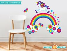 Unicorn and Rainbow Fabric Wall Decal, with Stars, Butterflies, and Colorful Dot