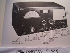 HALLICRAFTERS S-40A MULTIBAND RADIO RECEIVER PHOTOFACT