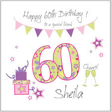Personalised 60th birthday card FRIEND SISTER AUNTIE Any Age/Name/message