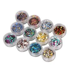 Fashion 12Pcs Nail Art Tips Stickers Acrylic 3D Glitter Sequins Manicure DIY New