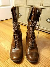 Women's Brown Born Lace Up Granny Skylark Boots Sz 9