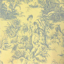 Drapery Upholstery Fabric Blue Toile on Yellow Background