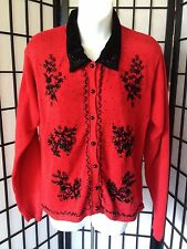 Yarnworks Size Medium Red & Black Crocheted & Bead Work Ugly Christmas Sweater