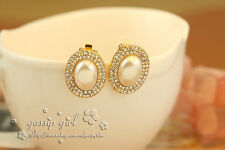Bling Bling Swarovski Crystal Large Oval Pearl Clip Earrings OZ Free Postage