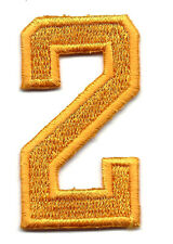 "NUMBERS - Golden Yellow  Number ""2"" (1 7/8"")Iron On Embroidered Applique/Numbers"