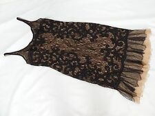 CARMEN MARC VALVO black lace over nude dress APPLIQUE size 6 RUFFLE hem