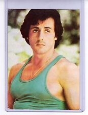 Sylvester Stallone actor vintage 1970s film postcard in thick holder unused