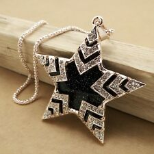 Fashion gold plating crystal Five-pointed star sweater chain necklace LL213
