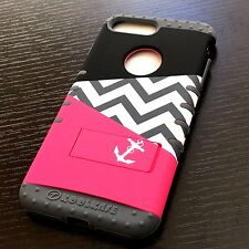 iPhone 7+ Plus - HYBRID HARD&SOFT RUBBER CASE COVER HOT PINK GRAY CHEVRON ANCHOR