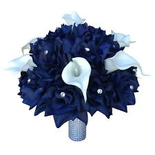 "10""Large Bridal bouquet - Navy Blue with White Calla Lily Artificial Flowers"