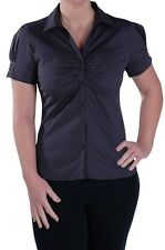 Womens Work Office Ruched Collared Short Sleeve Waist Length Blouse Shirt Tops