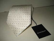 $195 NEW GIVENCHY Paris Mens Polka Dot Cream Italy Silk Circle Pattern Neck Tie