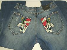 ED HARDY Kills Love Slowly Button Fly Crystals Skull Distressed Men's Size 42