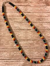 """Native American Beaded Black 23 1/4"""" Long Rope Necklace"""