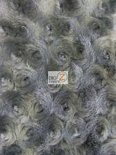 ROSE/ROSETTE MINKY FABRIC - Raccoon Grey - BY THE YARD BABY SOFT BLANKET FUR