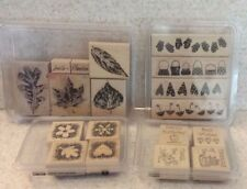 LOT OF STAMPIN' UP WOOD BLOCK STAMP SETS Simple Wishes WEATHER OR NOT Retired