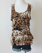 Cheetah Leopard Animal Ruffle Tiered Sleeveless Cami Tank Top Tee Shirt Blouse M