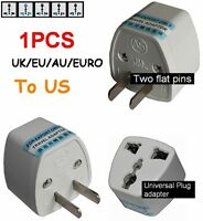 UK/EU/AU/EURO Universal to US AC Power Plug Travel Adapter Socket Converter USA