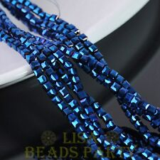 3mm 100pcs Cube Square Faceted Crystal Glass Loose Spacer Beads Blue Plated