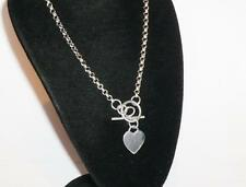 "STUNNING STERLING SILVER LADIES TBAR 18"" HEART NECKLACE WATCH CHAIN JEWELERY 925"
