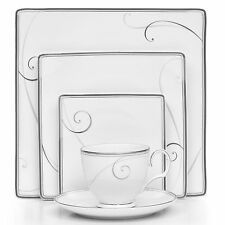 Noritake Platinum Wave Square 40Pc China Set, Service for 8