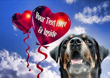Personalizado Rotty Dog Rottweiler San Valentín Día De Las Madres Cualquier Ocasión Tarjeta