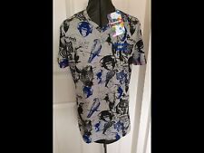 NEW DESIGUAL GREY BLUE BLACK COTTON ANIMAL PARTY PRINT T-SHIRT V NECK SMALL