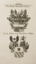 1847 Wappen Adelige von Koch-Sternfeld Koch von Teublitz Kupfer von Tyroff