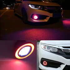 "2x 3.5"" Car Fog Light Lamp COB LED Projector Red Halo Angel Eyes Rings DRL"