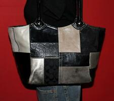 COACH Large BLEEKER PATCHWORK Black Leather Shopper Hobo Tote Purse Bag #14045